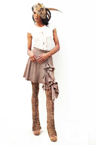 HatBand-in-Gold_SIngle-Pheasant-earring_wool-deconstructed-skirt_Cheetah-prnt-leggings