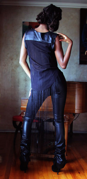 Avante-Garde-looks_Delina Leather side zip Leaggings and Fringe shell top