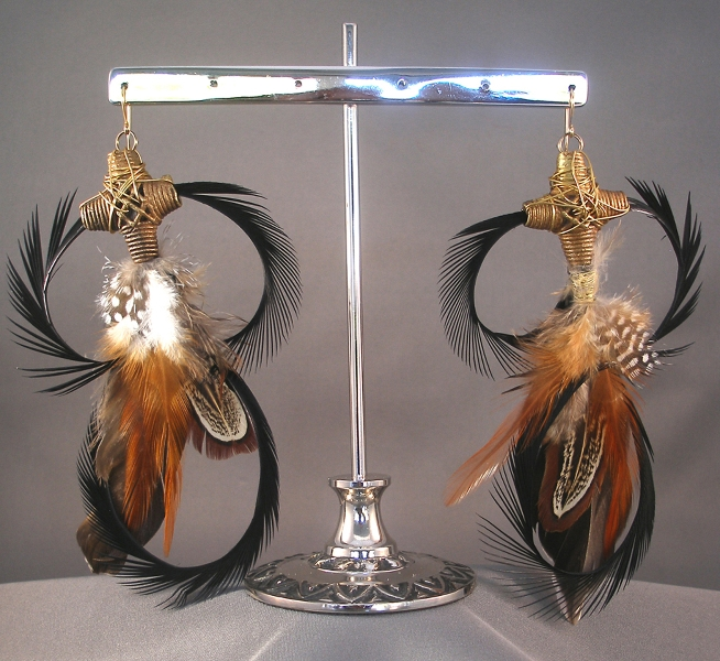 african-cross_black-goose-biot-feather-earrings_5-inches