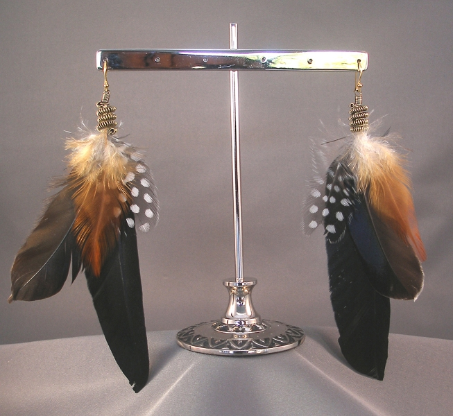 black-orange-black-polka-dots-feather-earring_silver-metal_5to7-inches