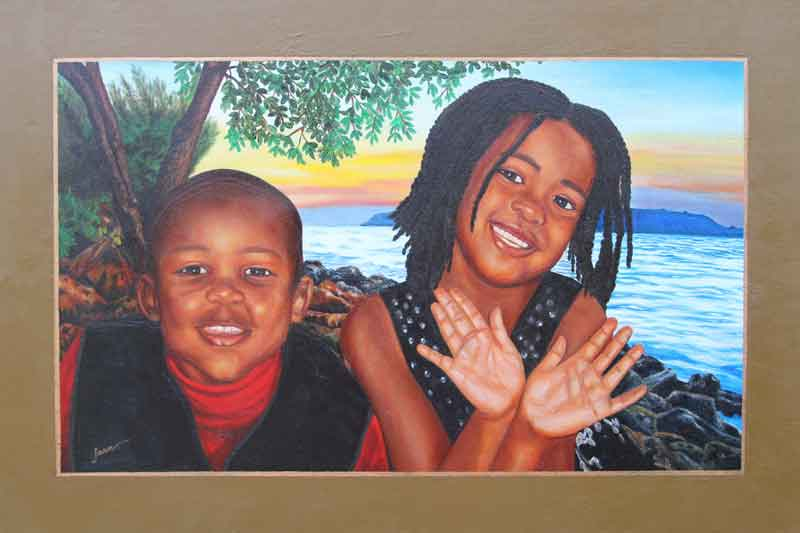 "36"" x 24"" Painting of my niece and nephew"