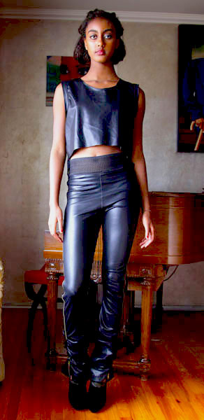 Avante-Garde-looks_Delina Leather side zip Leggings and Fringe shell top